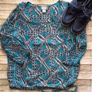 Lucky Brand Sheer Peasant Boho Top/Blouse, sz S